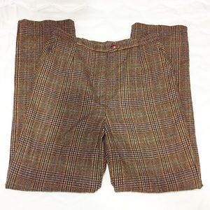 VINTAGE PLAID WOOL HIGH WAISTED TROUSERS